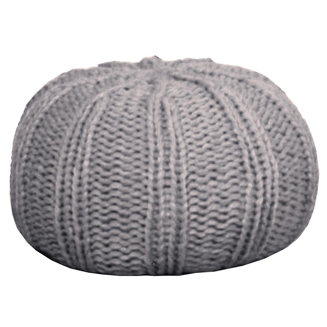 pouf tricot c te plate gris la savoie en direct. Black Bedroom Furniture Sets. Home Design Ideas