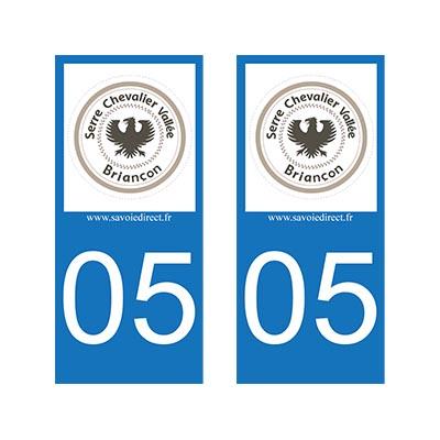 05240 2 Stickers Plaque Immatriculation Auto Vallée 05 Serre Chevalier
